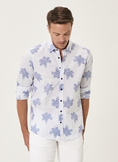 Beymen Business Slim Fit Baskılı Gömlek 4B2020200025 Beyaz